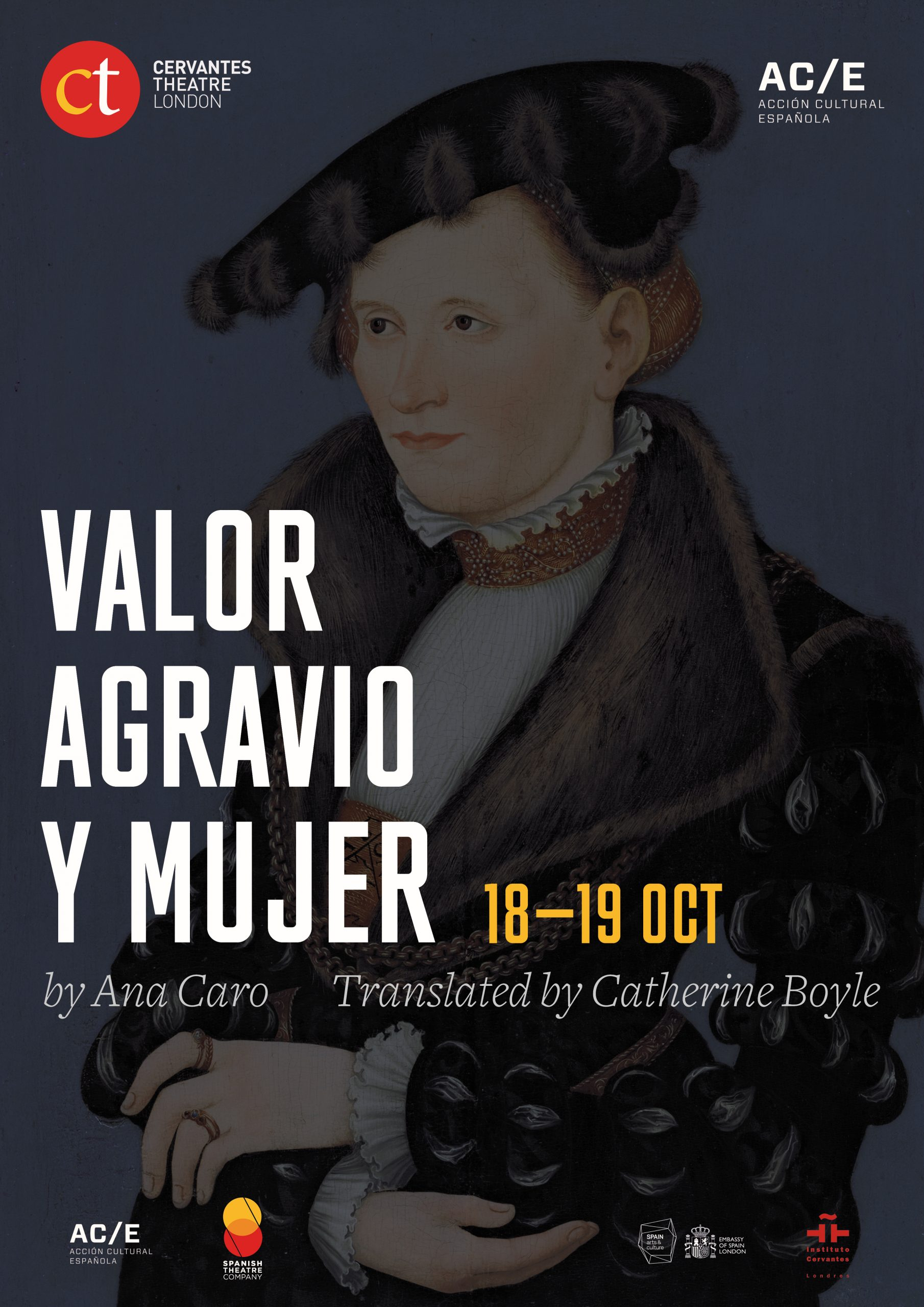 Poster of a the play Courage, Outrage and Women performed as a reading at the Cervantes Theatre on October 18th and 19th 2019