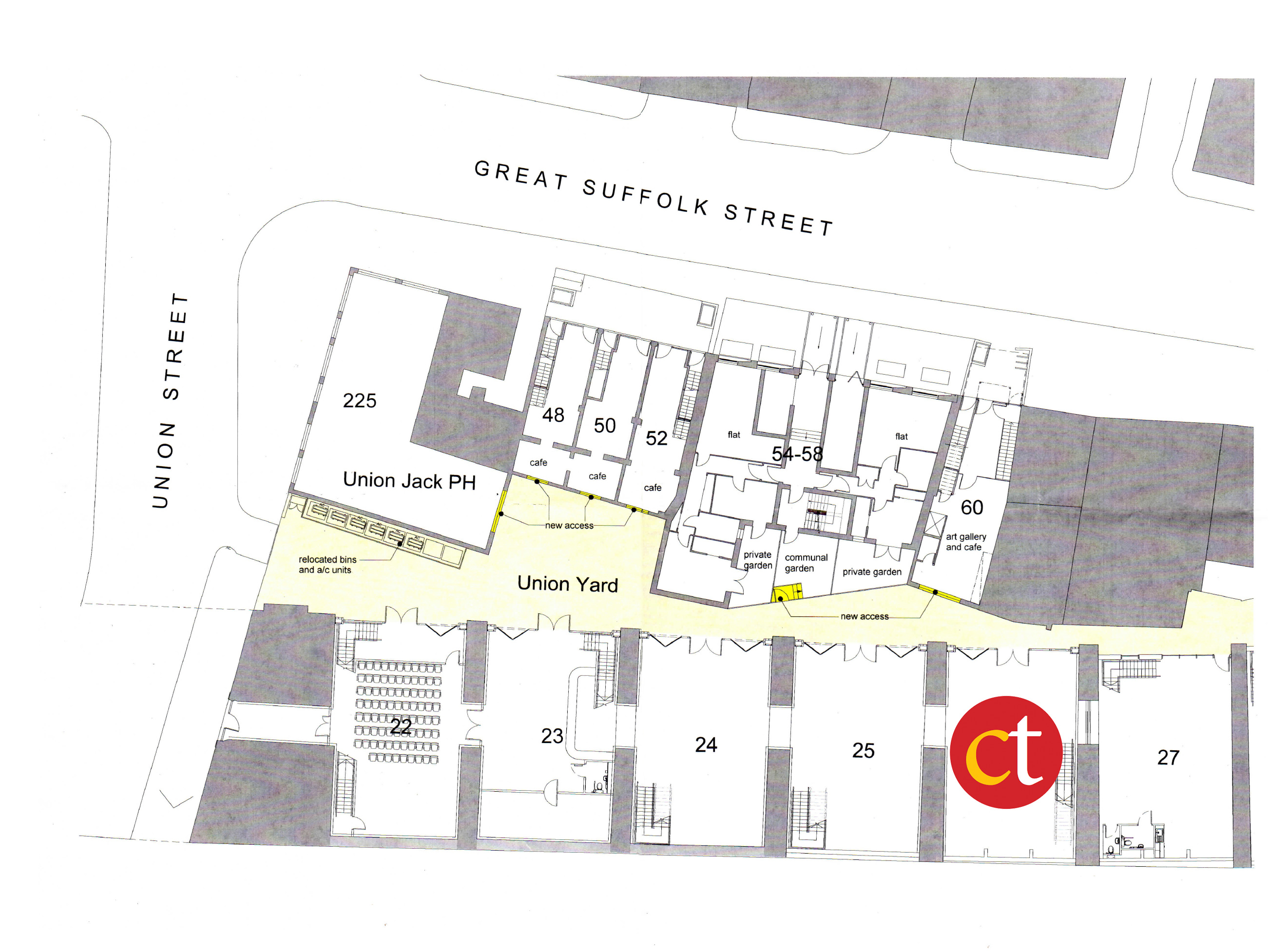Diagram showing position of Cervantes Theatre in Union Street